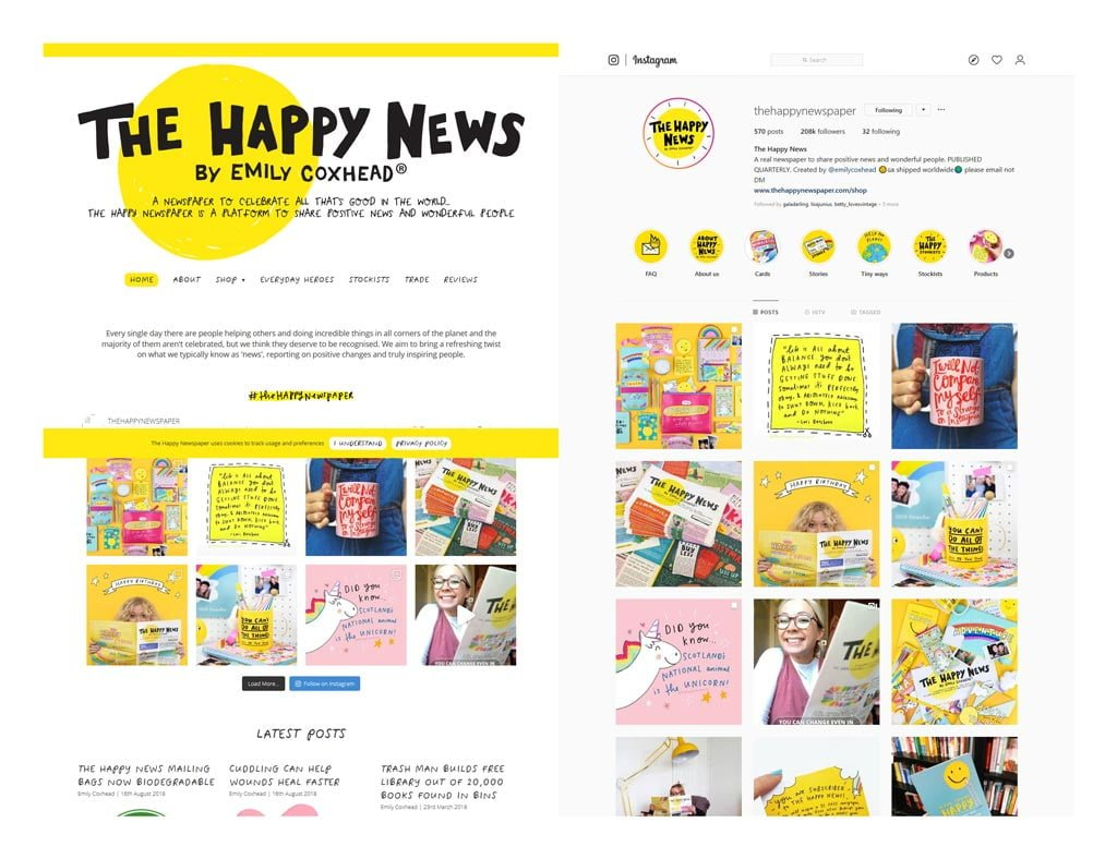 Side-by-side screenshots from the Happy Newspaper Website and Instagram feed showing the similarities in the visual brand.