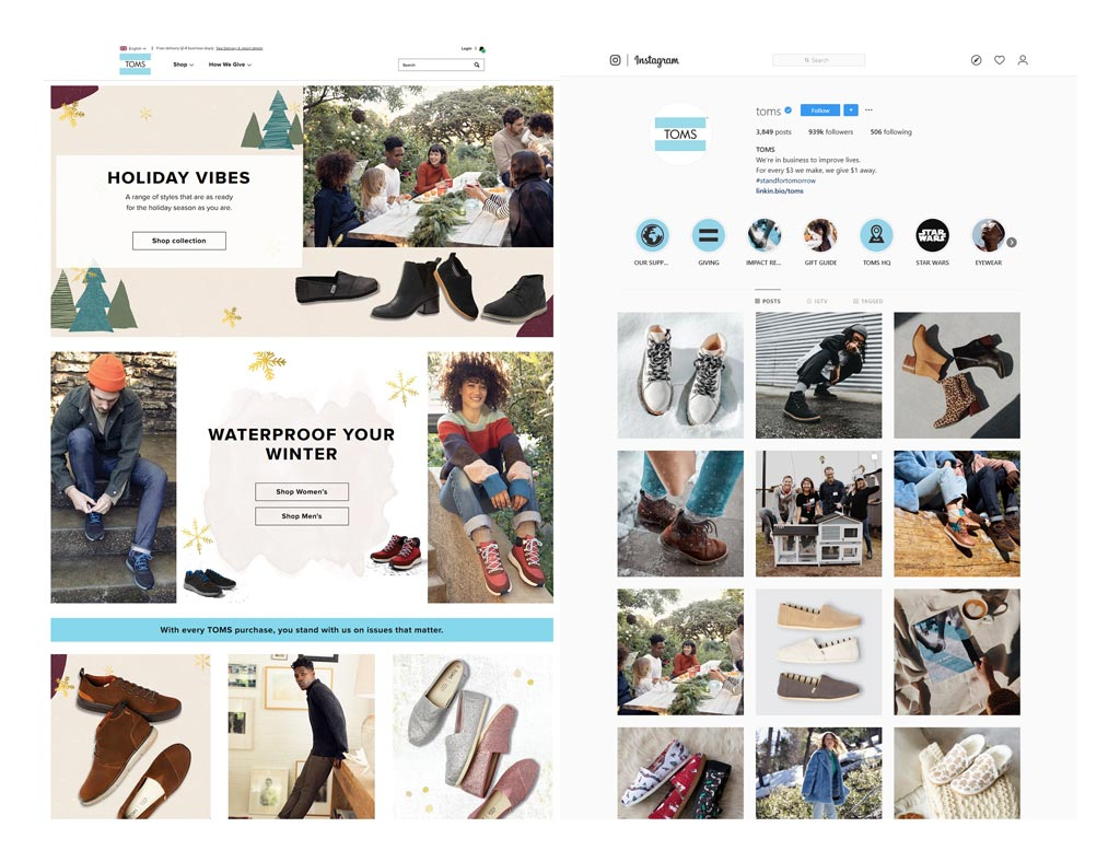 Side-by-side screenshots from the Toms Website and Instagram feed showing the similarities in the visual brand.