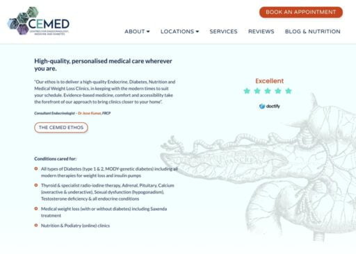 The CEMED home page header