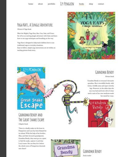 screenshot of the Izy Penguin books page
