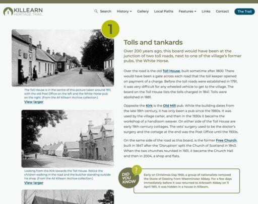 The Killearn Heritage Trail board page screenshot