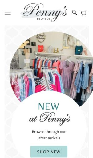 Penny's Boutique home page screenshot from mobile