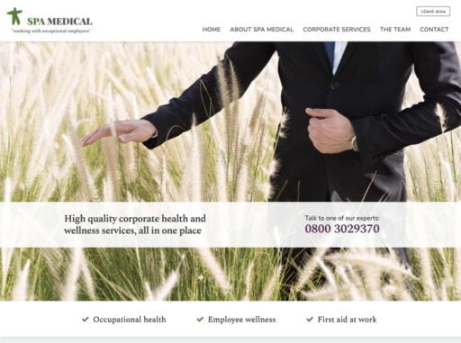 The SPA Medical home page header