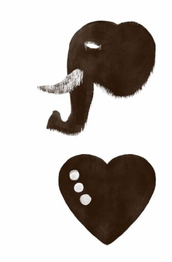 Two of the custom icons designed for Beyond Made - an illustrated elephant's head and a heart with 3 dots.